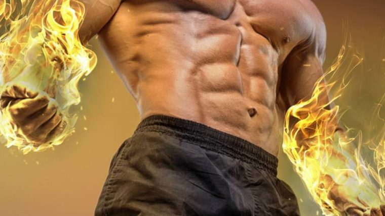 male burning fat